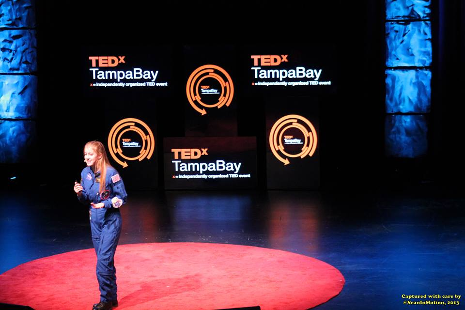 "Astronaut Abby giving Ted X  Talk titled ""What's your Mars?"""